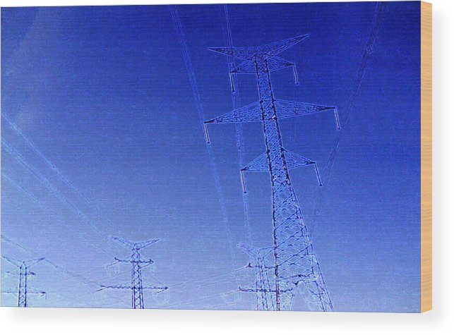 Electricity Wood Print featuring the photograph Four Towers 2 Ae2 by Lyle Crump