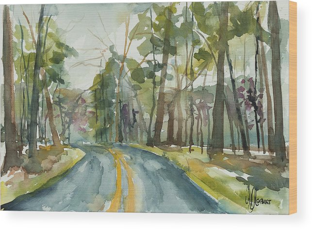 Trees Wood Print featuring the painting Going Home by Ava Obert