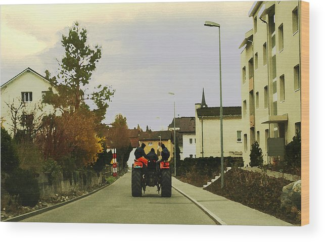 Swiss Scene Wood Print featuring the photograph Going Home by Chuck Shafer