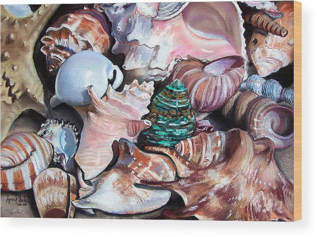 Seashells Wood Print featuring the painting Green Shell by Anne Rhodes