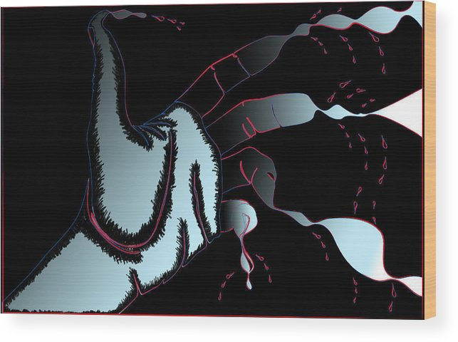Hand Wood Print featuring the digital art Hand Melting by Christopher Sprinkle