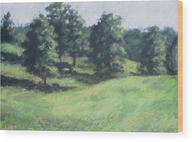 Landscape Wood Print featuring the painting High Summer Pasture by Dolores Holt
