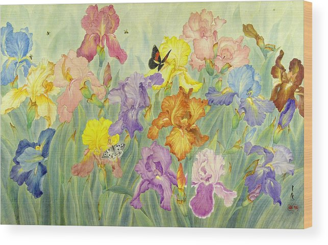 Flower Wood Print featuring the painting Iris by Ying Wong