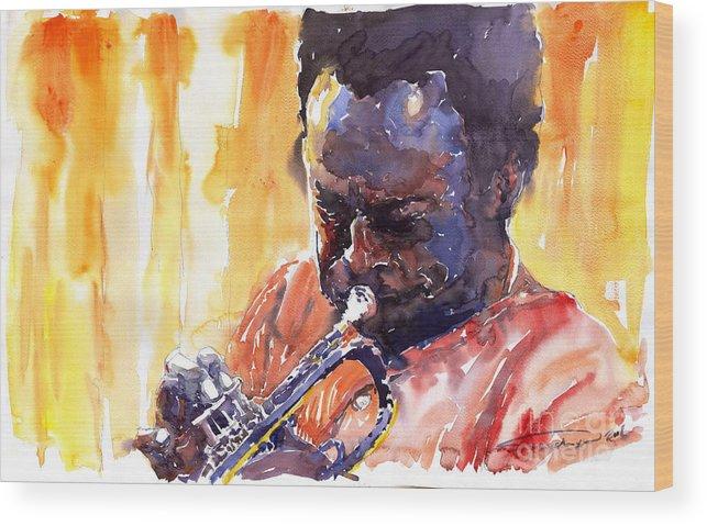 Jazz Miles Davis Music Watercolor Watercolour Figurativ Portret Trumpeter Wood Print featuring the painting Jazz Miles Davis 8 by Yuriy Shevchuk