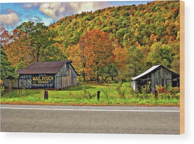 West Virginia Wood Print featuring the photograph Kindred Barns by Steve Harrington