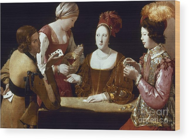 Card Game Wood Print featuring the photograph La Tour: The Cheat, C1625 by Granger