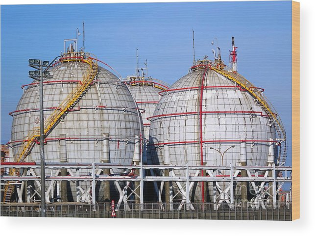 Storage Tank Wood Print featuring the photograph Large Spherical Sotrage Tanks by Yali Shi