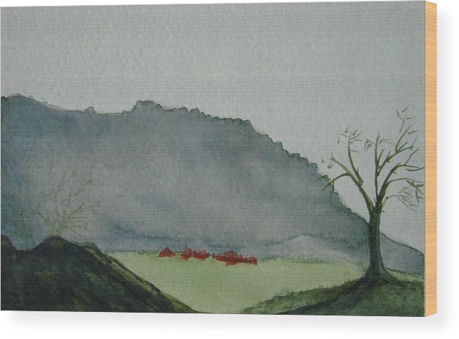 Landscape Wood Print featuring the painting Lone Tree by Liz Vernand