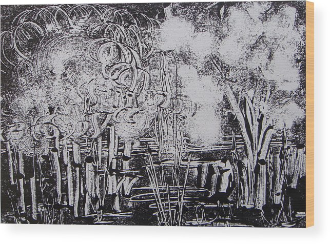 Abstract Wood Print featuring the painting Marais 2 by Muriel Dolemieux