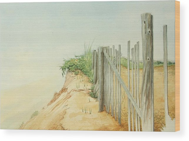 Landscape Wood Print featuring the painting Marconi Beach by Stephen Bluto