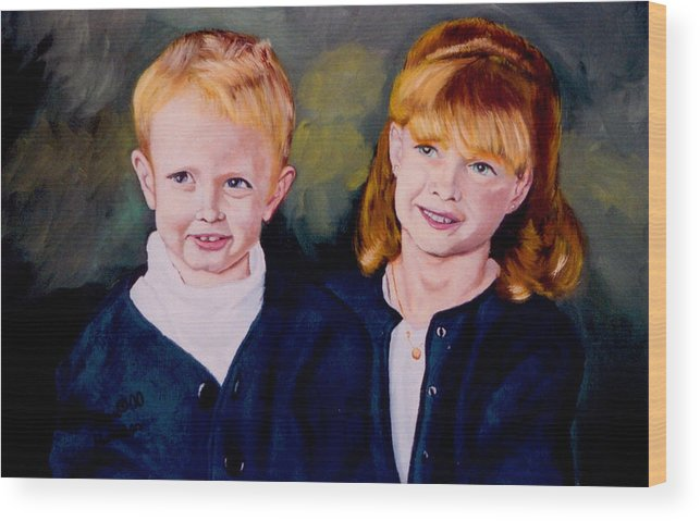 Double Child Portrait In Oil Wood Print featuring the painting Megan And Justin by Stan Hamilton