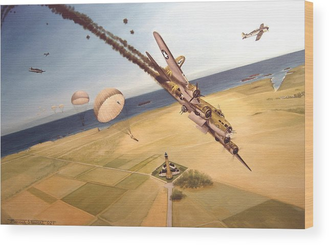 Aviation Wood Print featuring the painting Mehitabel by Marc Stewart