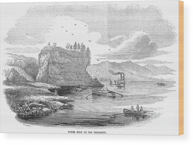 1854 Wood Print featuring the photograph Mississippi River, 1854 by Granger