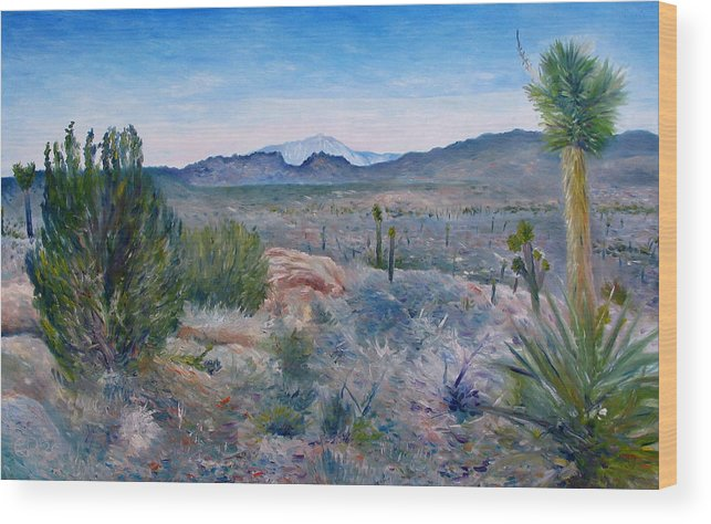 Wood Print featuring the painting Mojave Desert With Mt San Jacinto California Usa 2001  by Enver Larney