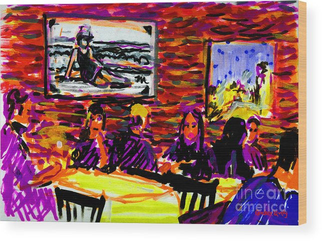 Nantucket Restaurant Wood Print featuring the painting Nantucket Arno's by Candace Lovely
