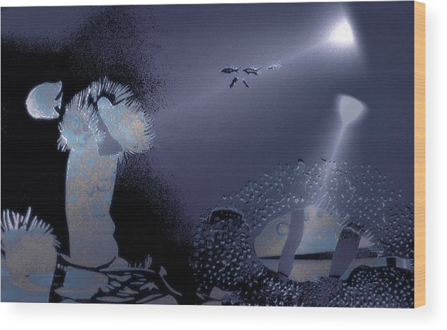 Diving Wood Print featuring the digital art Night Dive by Mushtaq Bhat