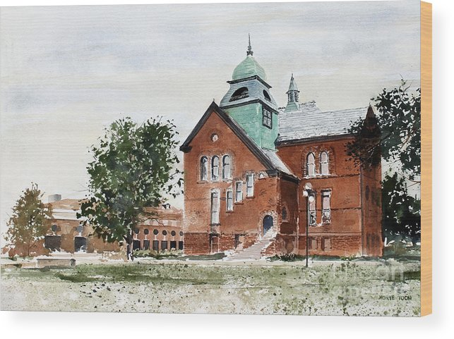 Old Central On The Oklahoma State University Campus. Wood Print featuring the painting Oklahoma State University Old Central by Monte Toon