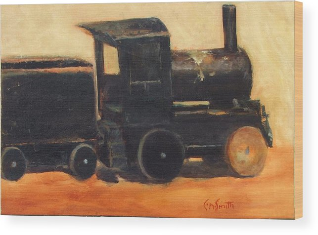 Trains Wood Print featuring the painting Old Wood Toy Train by Chris Neil Smith