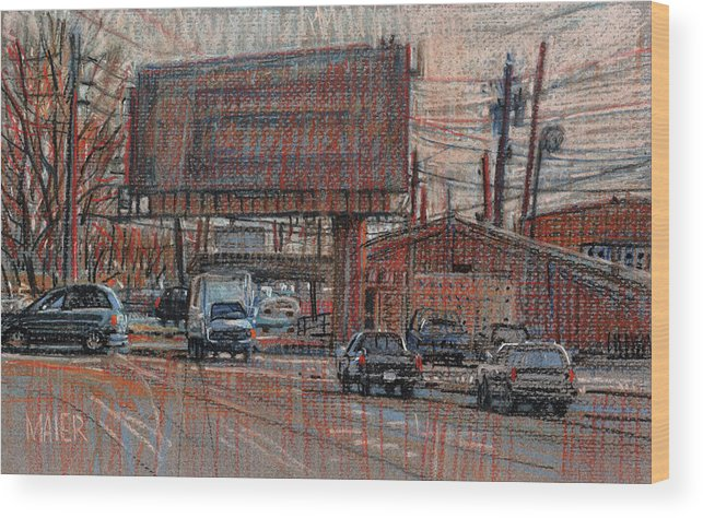 Billboard Wood Print featuring the drawing Outdoor Advertising by Donald Maier