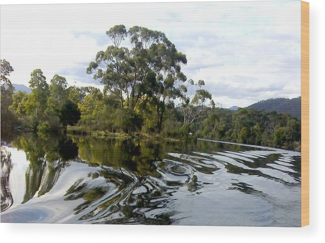 Water River Trees Reflections Patterns Swirls Wood Print featuring the photograph Patterns On Water by Bethwyn Mills