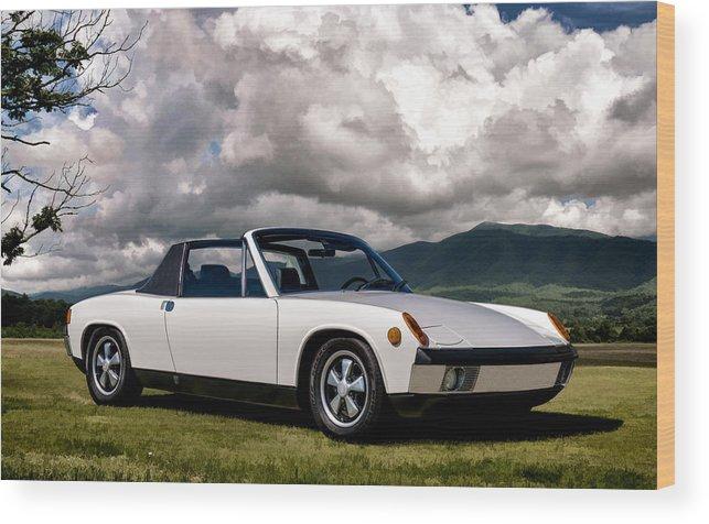 Classic Wood Print featuring the digital art Porsche 914 by Douglas Pittman