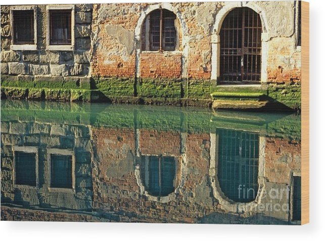 Venice Wood Print featuring the photograph Reflection On Canal In Venice by Michael Henderson