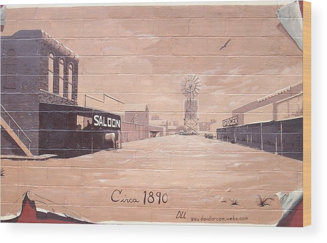 Western Wood Print featuring the painting Roanoke Mural by David Larcom