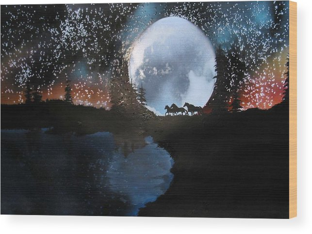Wild Horses Moon Silouette Mountains Trees Nature Night Stars Sunset Wood Print featuring the mixed media Running Free by Ed Moore