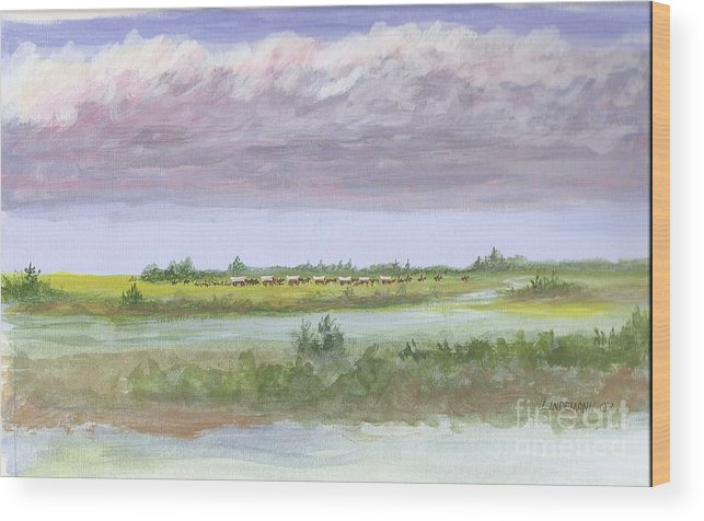 Wagons Wood Print featuring the painting Settlelers Crossing Plain by Don Lindemann