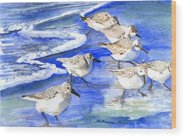 Plovers Wood Print featuring the painting Shore Birds by Rebecca Marona