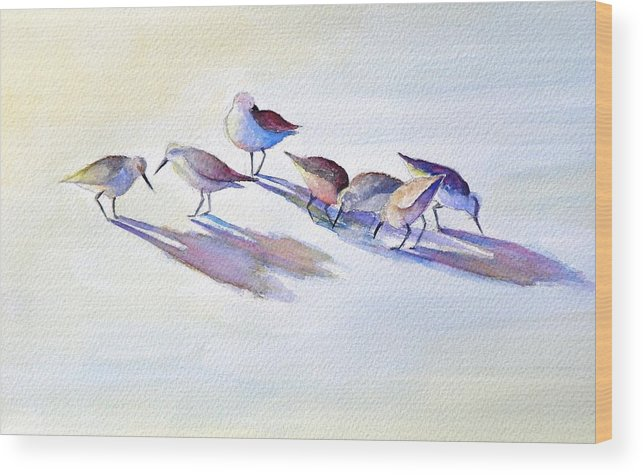 Wildlife Wood Print featuring the painting Shorebirds by Dorothy Nalls