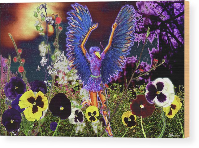 Spiritual Wood Print featuring the painting Spirit Guide by Miko At The Love Art Shop