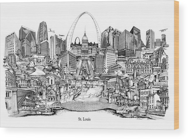 City Drawing Wood Print featuring the drawing St. Louis 4 by Dennis Bivens