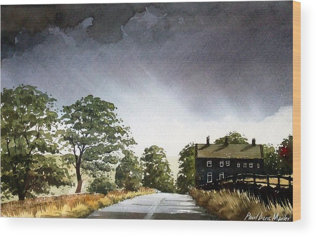 Landscape Wood Print featuring the painting Stainland Dean by Paul Dene Marlor
