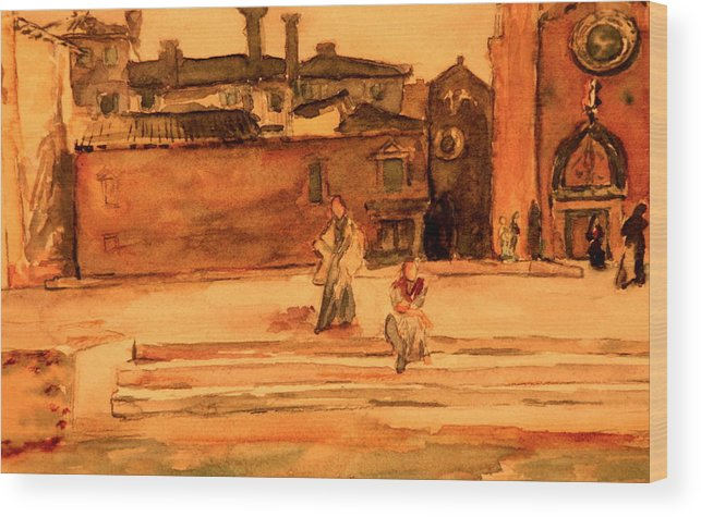 Venice Wood Print featuring the painting Steps On A Canal In Venice by Dan Earle