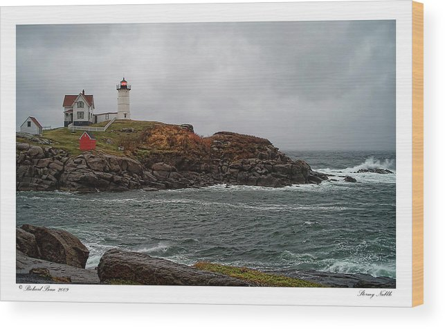 Architecture Wood Print featuring the photograph Stormy Nubble by Richard Bean