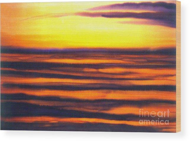 Sundown In The Marshlands Wood Print featuring the painting Sundown In The Marshlands by Addie Hocynec