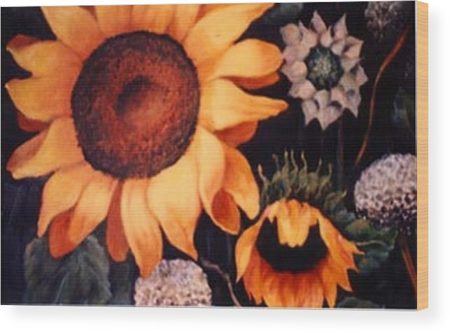 Sunflowers Paintings Wood Print featuring the painting Sunflowers And More Sunflowers by Jordana Sands
