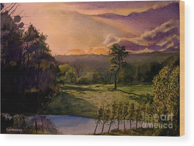 Forest Wood Print featuring the painting Sunrise At L Hermitiere by Christian Simonian