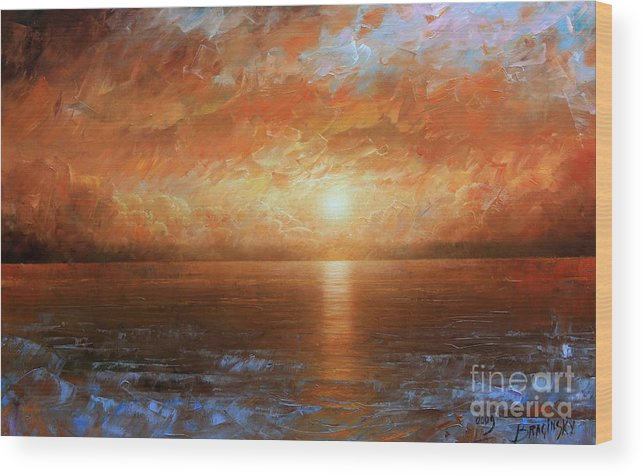 Landscape Wood Print featuring the painting Sunset by Arthur Braginsky