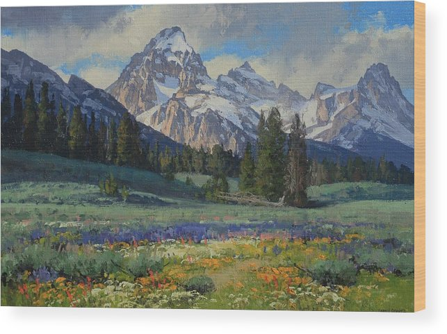 Landscape Wood Print featuring the painting Teton Splendor by Lanny Grant