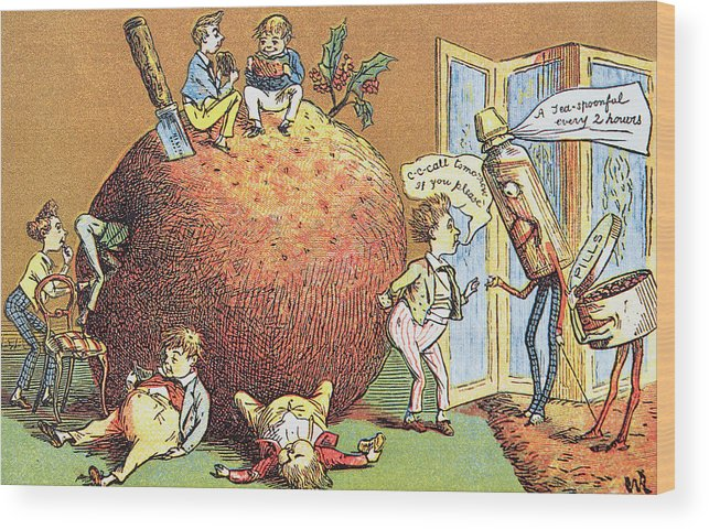 the christmas pudding a victorian christmas card wood print by