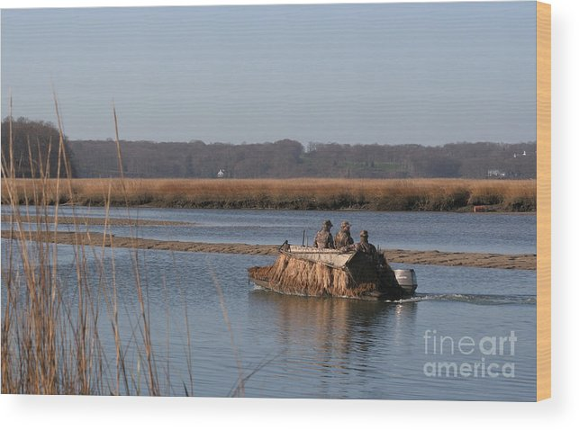 Hunters Wood Print featuring the digital art The Duck Hunters by Jack Ader