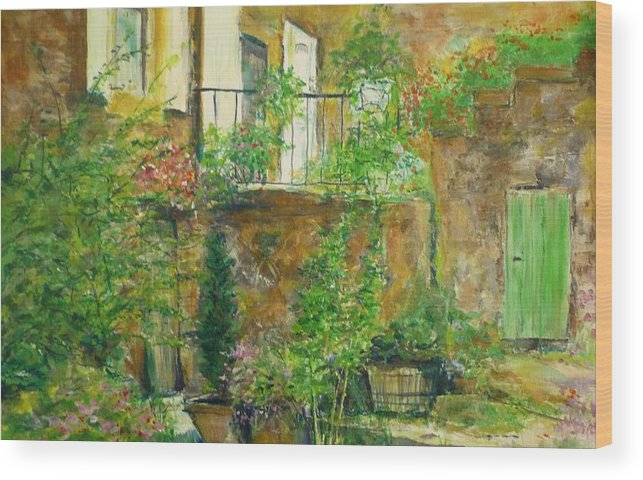 Stone Wood Print featuring the painting The Green Door by Lizzy Forrester