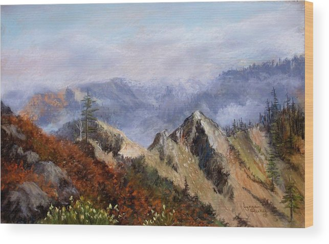 The Trinity Alps Of Northern California. Wood Print featuring the pastel Trinity Alps by Lynne Parker