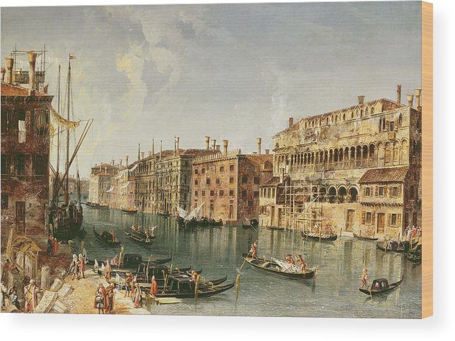 Marieschi Wood Print featuring the painting Venice, Grand Canal And The Fondaco Dei Turchi by Michele Marieschi