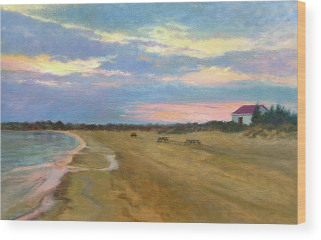 Oil Landscape Wood Print featuring the painting Wades Beach Sundown Study II by Phyllis Tarlow