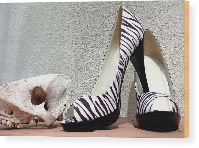 Shoes Wood Print featuring the photograph Zebra Heels And Skull by Heather S Huston