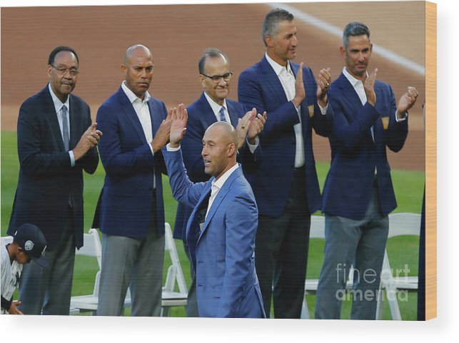 Crowd Wood Print featuring the photograph Derek Jeter Ceremony by Rich Schultz
