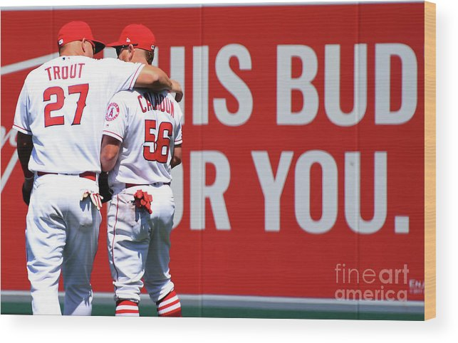 Three Quarter Length Wood Print featuring the photograph Texas Rangers V Los Angeles Angels Of 3 by Jayne Kamin-oncea
